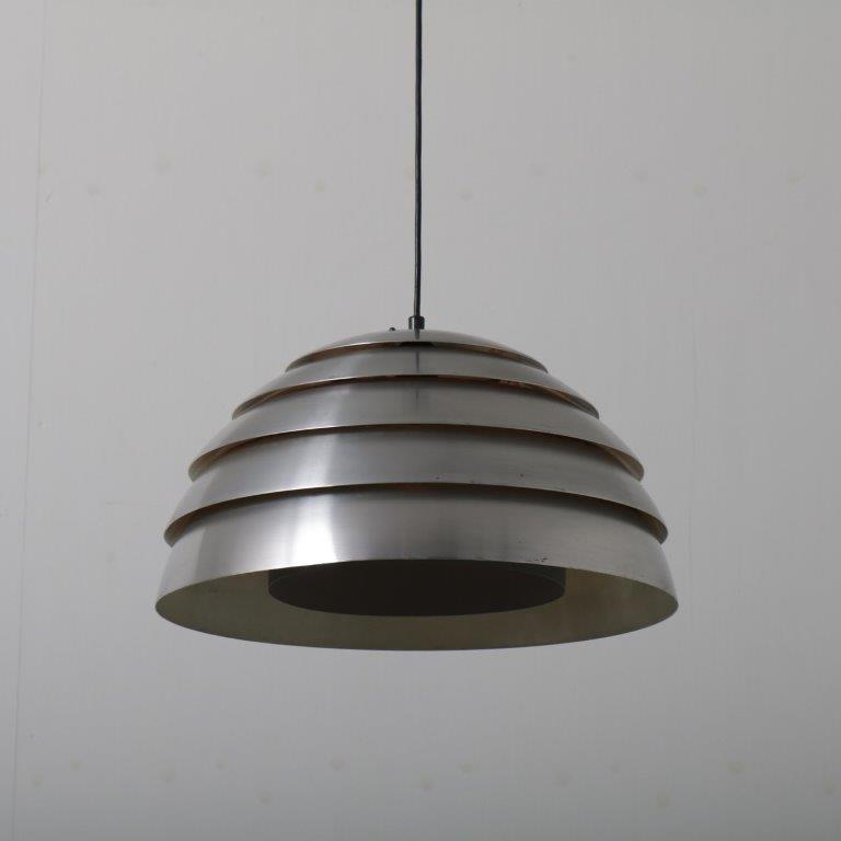 L4423 1960s Chrome metal hanging lamp Hans Agne Jakobsson Markaryd / Sweden