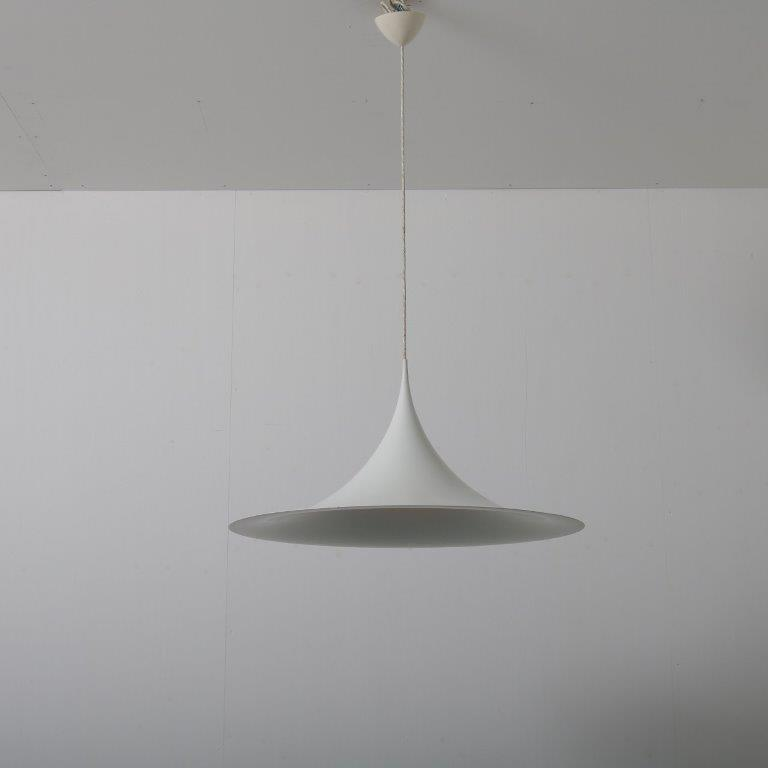 L4513 1960s large edition semi hanging lamp white aluminium Bonderup & Thorup Fog & Morup