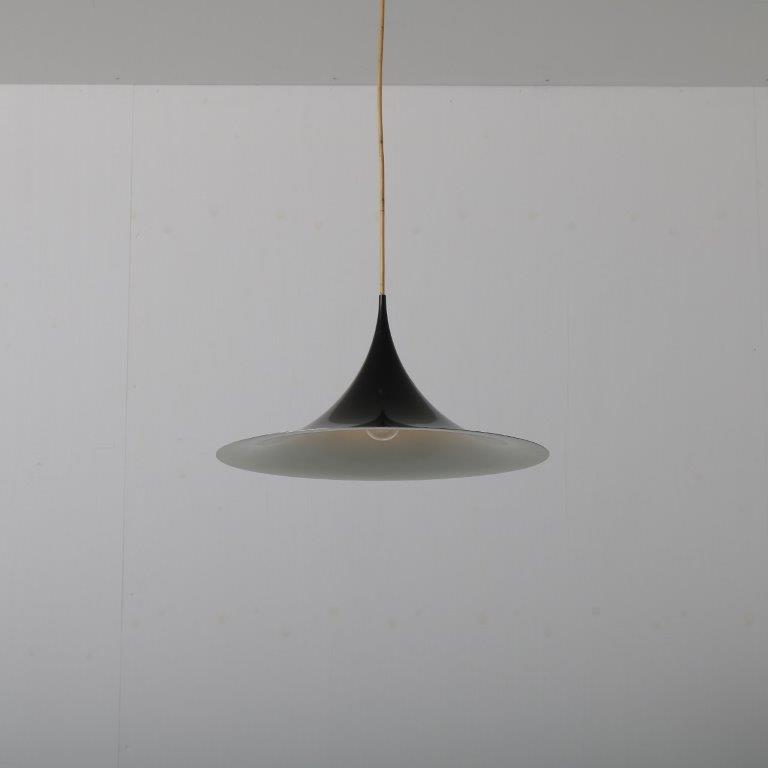 L44191960s Black aluminium hanging lamp model Semi Claus Thonderup en Torsten Thorup Fog & Morup / Denmark