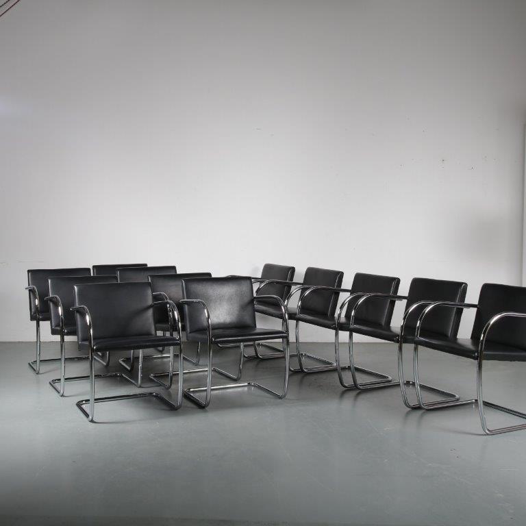 m24349-60 1970s BRNO chair black leather on chrome pipe frame Mies van de Rohe Alivar / Italy