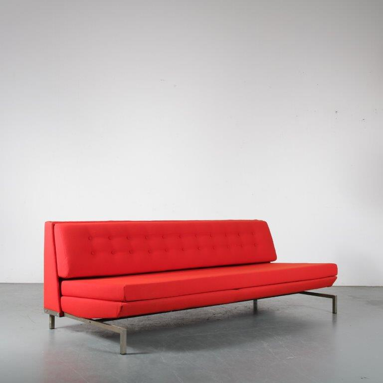 m24365 1960s 3 seater sofa/ sleeping bench on chrome metal base and new upholstery by de Ploeg George van Rijk Beauforte / Belgium