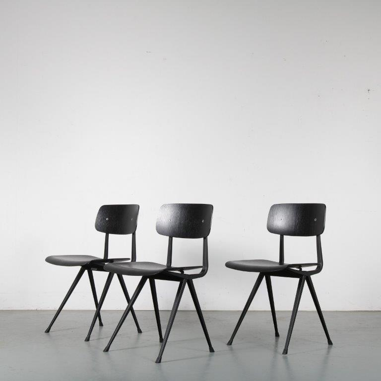 m24378-80 2000s Result chair black metal base with black wooden seat and back