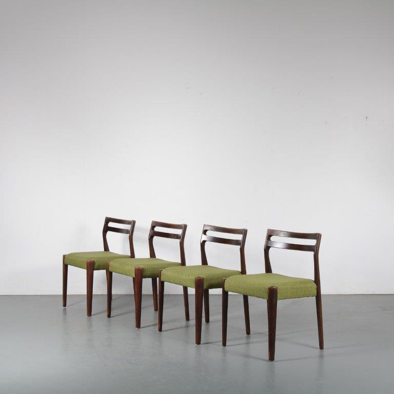 m24296 1960s set of 4 stained oak dining chairs with green fabric upholstery Denmark