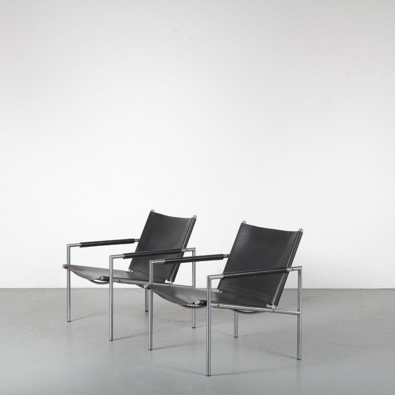 m24308 1960s set of 2 easy chairs chrome metal base with black neck leather upholstery Martin Visser Spectrum NL