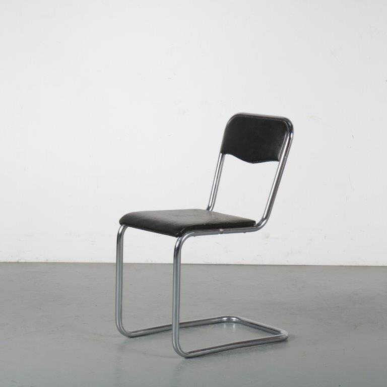m23958 1930s Rare chrome pipe frame chair with black skai upholstery Mart Stam Fritz Hansen / Denmark
