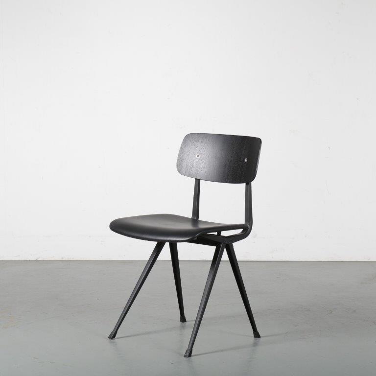 m24381 2000s Result chair black metal base with black wooden back and black leather seat Friso Kramer Hay / NL