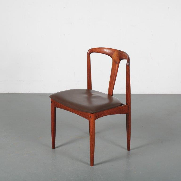 m24389 1950s rosewood dining chair with brown leather seat model Juliane Johannes Anderson Uldum Denmark