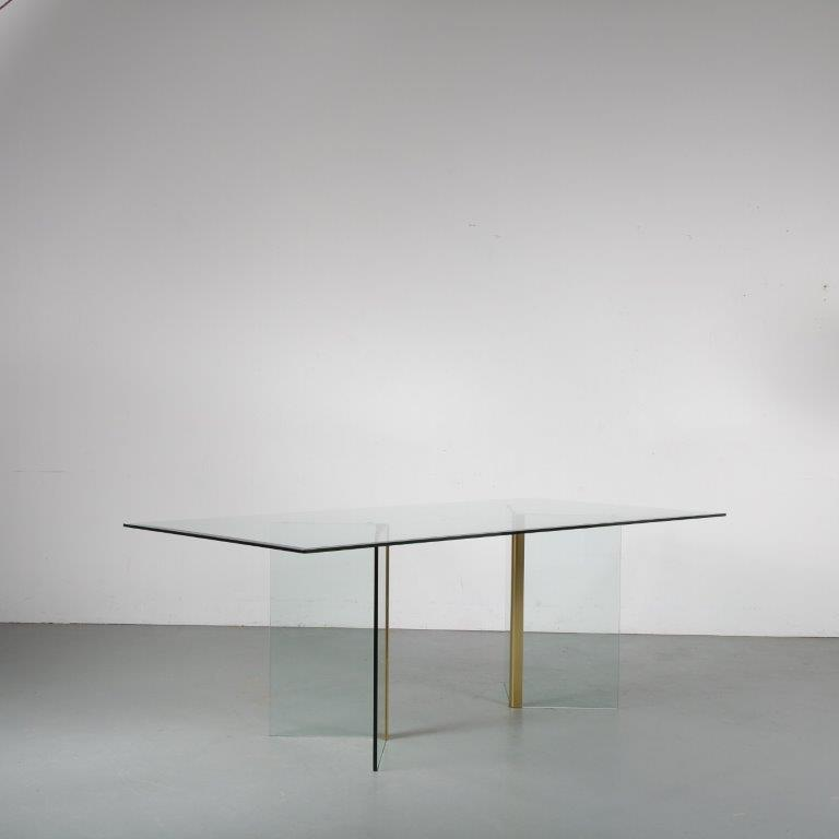 m24399 1970s luxury glass with brass dining table Galotti & Radice / Italy