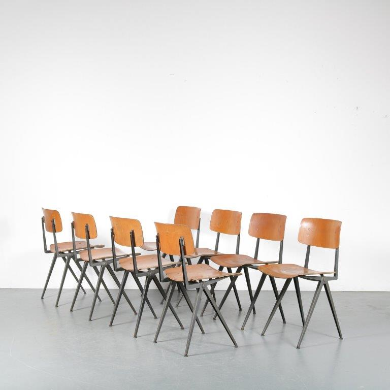m24404-5 1950s set of 4 industrial styled school chairs Marko / NL