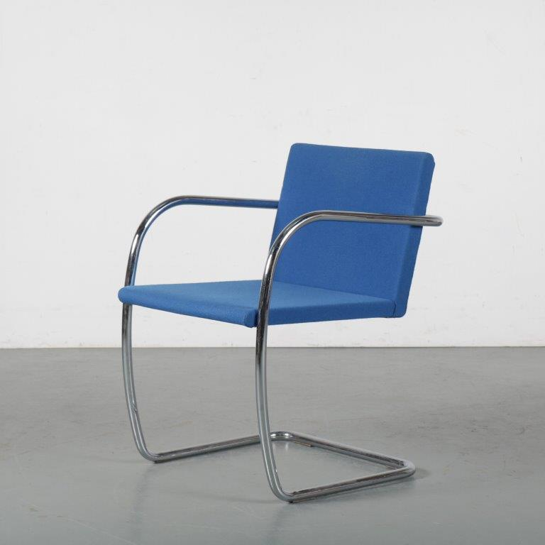 m24374 1970s BRNO chair on chrome base with blue fabric opholstery Mies van de Rohé Knoll / USA