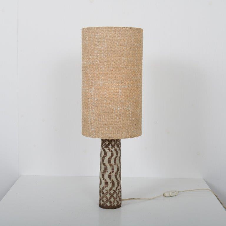 L4529 1960s small ceramic table lamp with fabric hood Mobach / NL