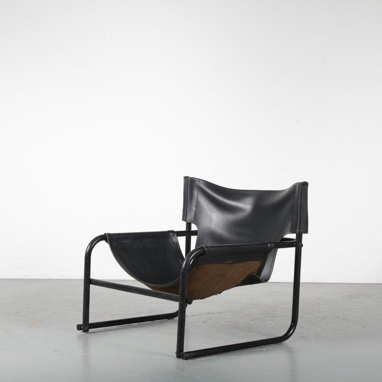 m24439 1970s black metal with black leather easy chair Rodney Kinsman Bieffeplast / Italy