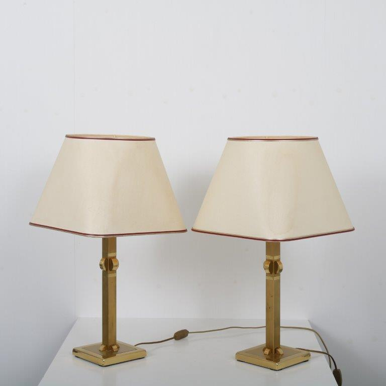 L4533 1970s pair of luxury heavy brass table lamps with fabric hoods Herda / Germany