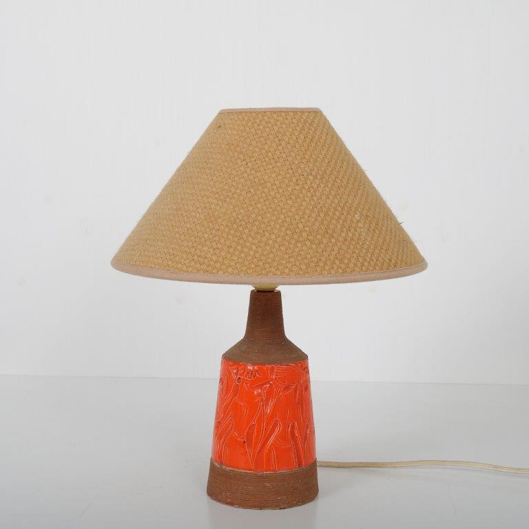 L4531 1960s ceramic table lamp with fabric hood Fratelli Vanciullacci / Italy