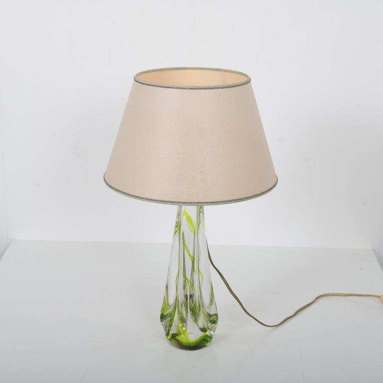 L4530 1950s glass signed table lamp with fabric hood Kristalunie- Maastricht / NL
