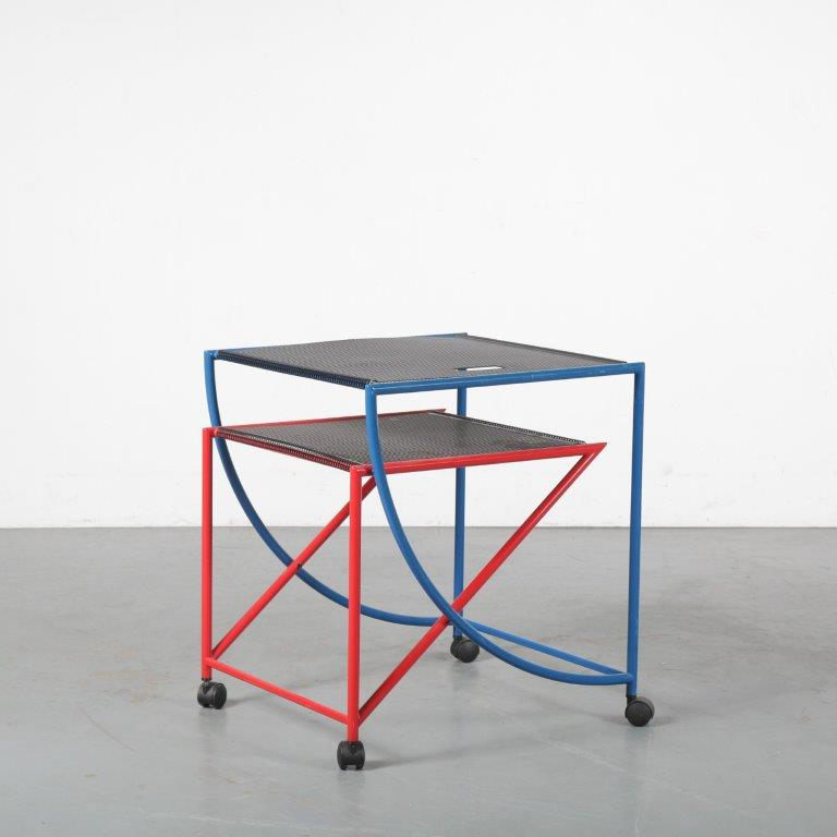 m24468 1980s Memphis style side table / trolley Blaupunkt / Germany