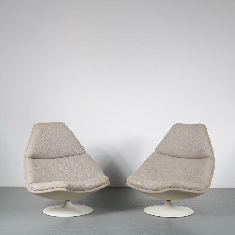 """m24498-9 1960s """"F510"""" Swivel lounge chair with fabric upholstery Geoffrey Harcourt Artifort / Netherlands"""