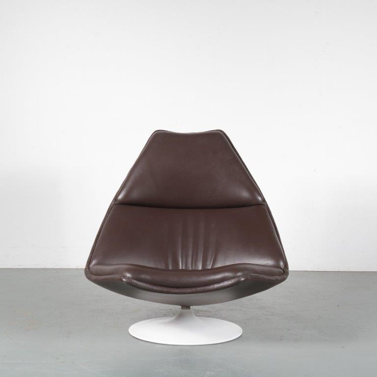 "m24500 1960s ""F510"" Lounge chair with leather upholstery Geoffrey Harcourt Artifort / Netherlands"