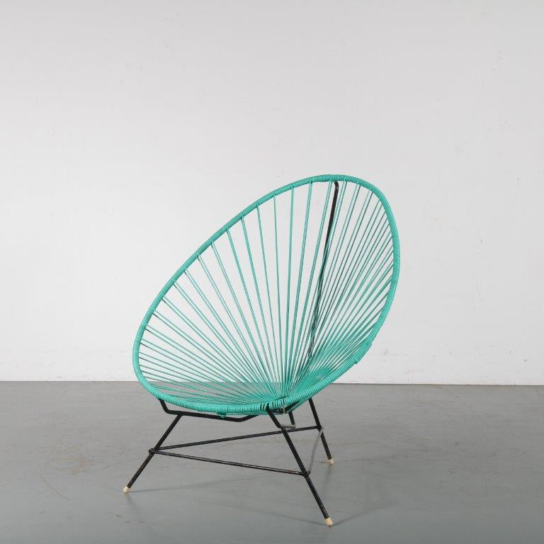 "m24490 1950s ""Acapulco"" garden chair in green wire metal Mexico"