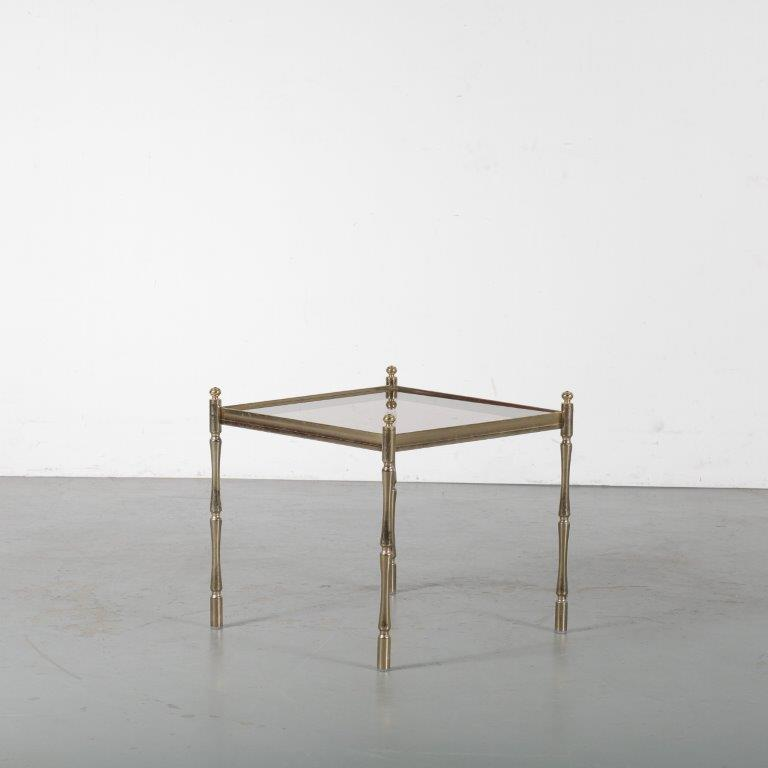 m24526 1960s Nice styled side table on brass base with glass top