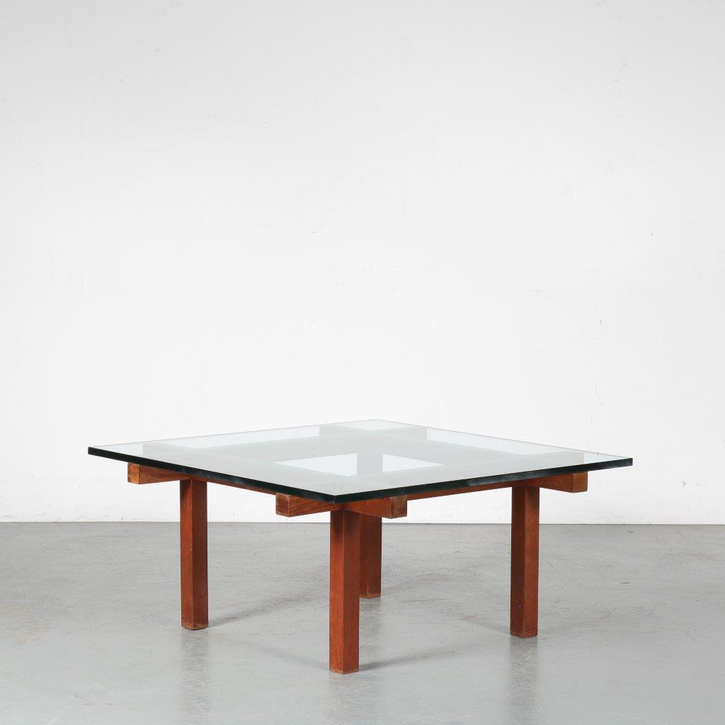 m23939 1950s Square coffee table on thick wooden base with thick glass top Alfred Hendrickx Belgium