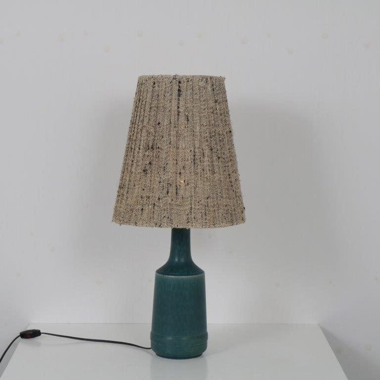 L4558 1960s Danish table lamp on ceramics base with fabric hood Desiree Stentoj Denmark