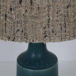L4558 1960s Danish table lamp on ceramics base with fabric hood Desiree Stentoj Denmark