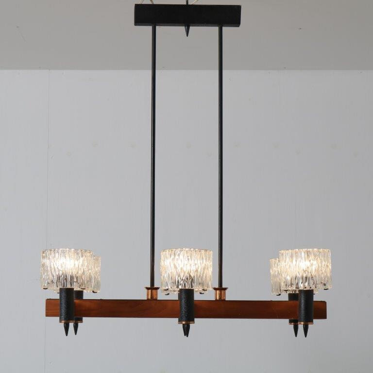 L4588 1960s Hanging lamp in wood with brass and black metal and six glass cylinders Germany