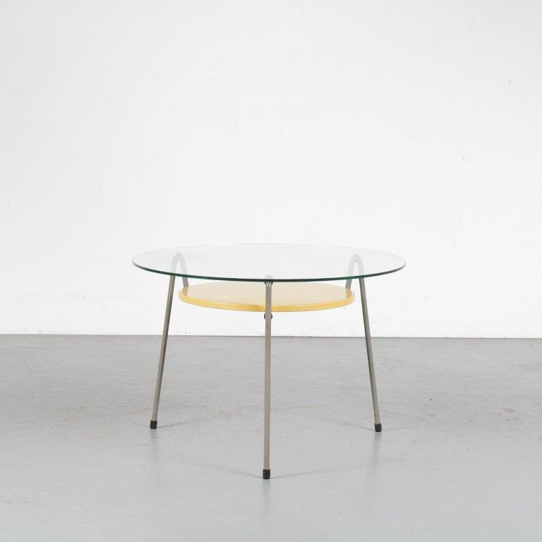 m24659 1950s Mosquito coffee table on grey metal base with yellow metal shelf and glass top Wim Rietveld Gispen / Netherlands