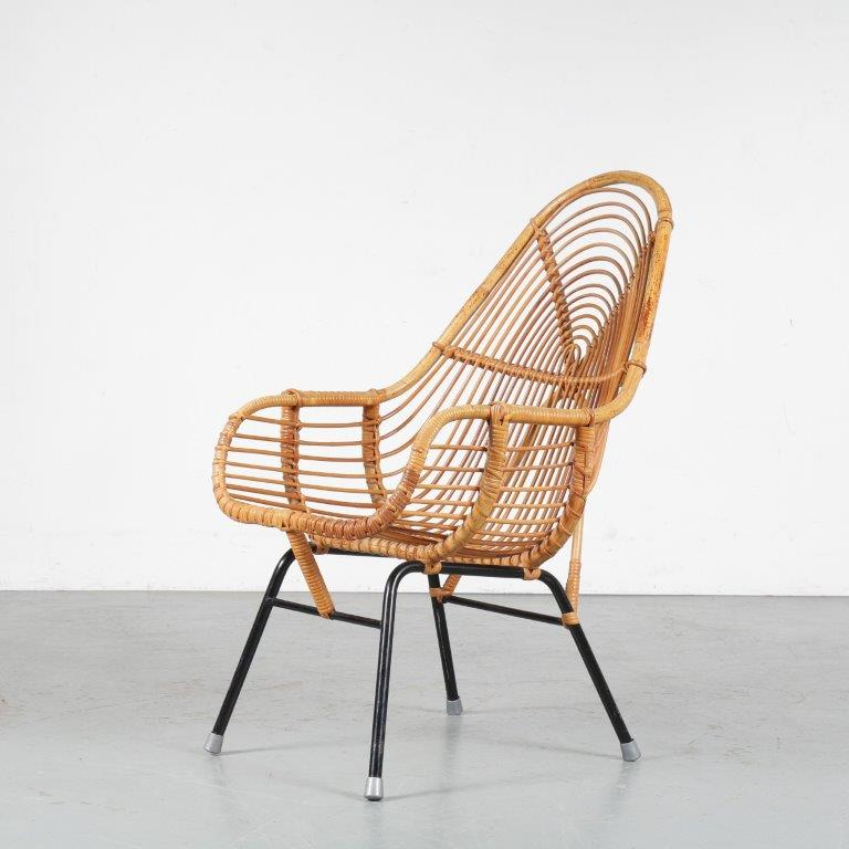 m24725 1950s Rattan chair by Dirk van Sliedregt from the Netherlands