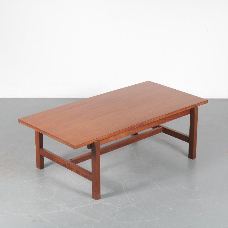 m24664 1950s Rectangular teak coffee table with reversible top (white laminated) Cees Braakman Pastoe / Netherlands