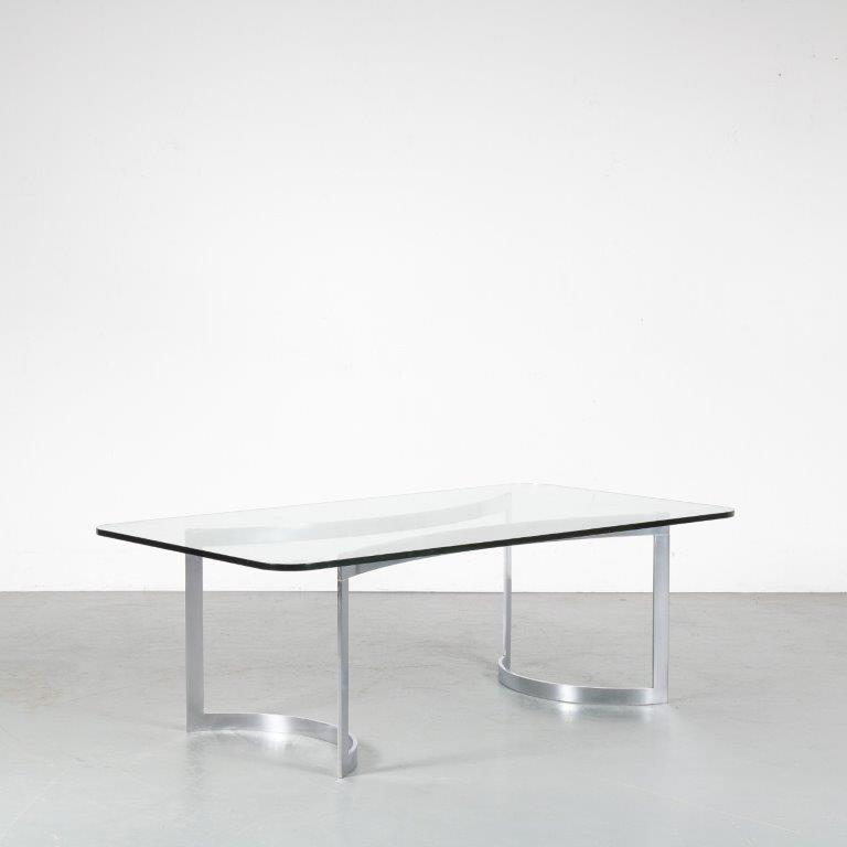 m23938 1960s Rectangular coffee table on chrome metal base with thick glass top Knud Hesterberg