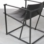 m24727 1980s FM62 Cubic chair in black metal with black saddle leather Radboud van Beekum Pastoe / Netherlands