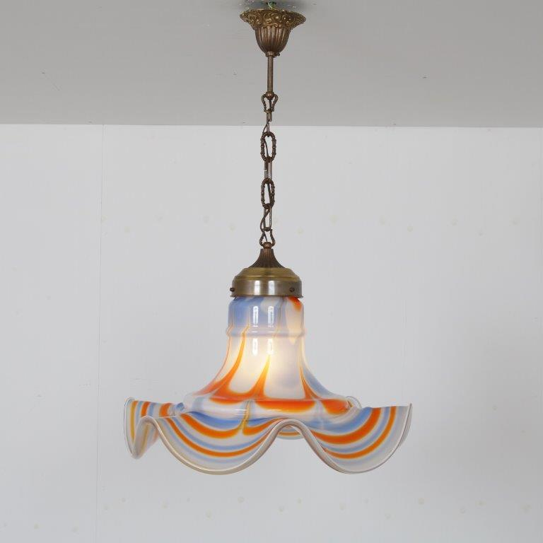 L4590 1970s Murano glass hanging lamp in Flower Power style with brass details Murano / Italy