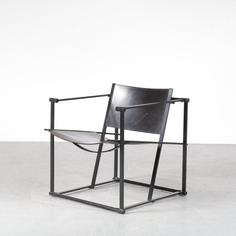 m24727 1980s FM62 Cubic chair in black metal with black saddle leather Radboud van Beekum Pastoe / Netherlands