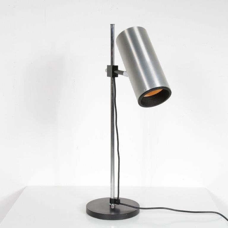 L4608 1950s Desk lamp in black metal with chrome and aluminium cylinder hood Maria Pergay Uginox France