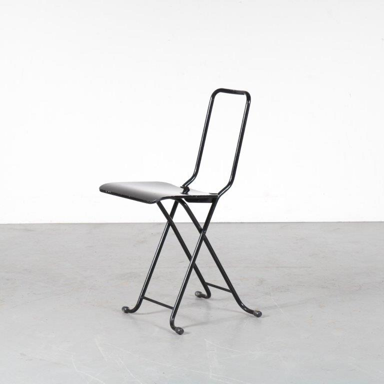 m24765 1970s Black metal folding chair with black wooden seat and backrest Gastone Rinaldi Thema Italy