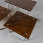 m24558 1970s Set of 3 side tables on aluminium base with mica tops and brass details France