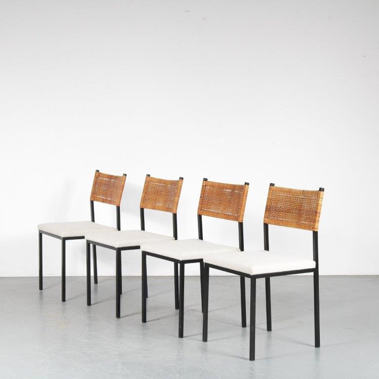 m24394 1950s set of 4 dining chair on black metal base and fabric seat and ratan back rest van der sluis Netherlands