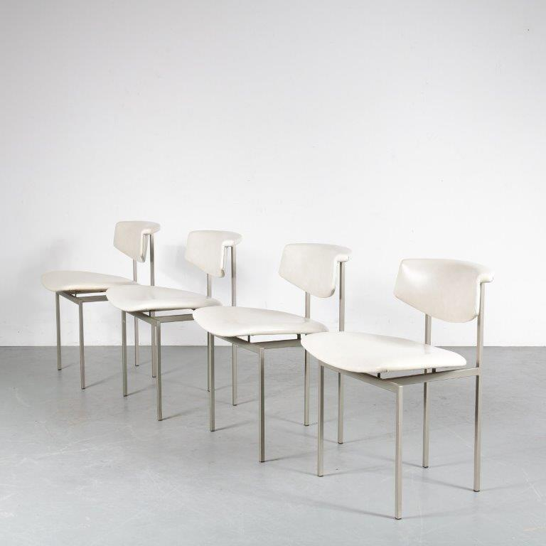m24754 1960s unique set of 4 dining chair on grey metal base with white skai upholstery model alpha Rudolf Wolf Gaasbeek en van Tiel