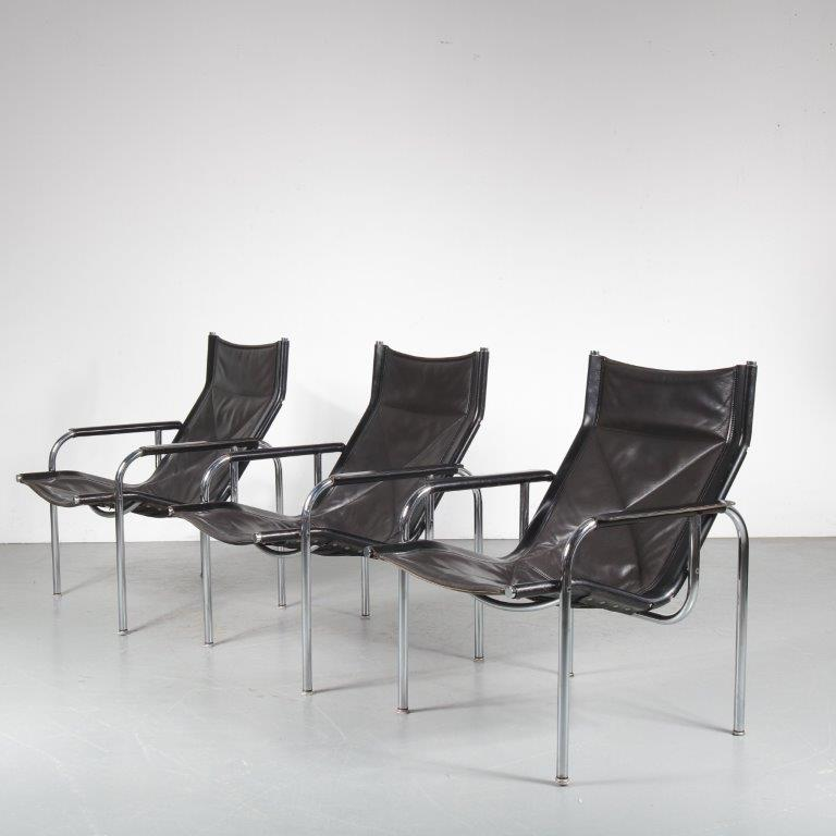 1970s Easy chair on chrome metal base with black leather Hans Eichenberger Strässle / Denmark