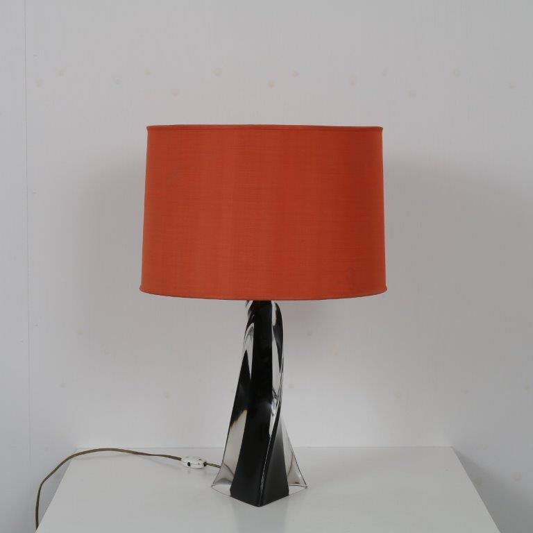 L4537 1960s murano glass table lamp with fabric hood Murano/ Italy