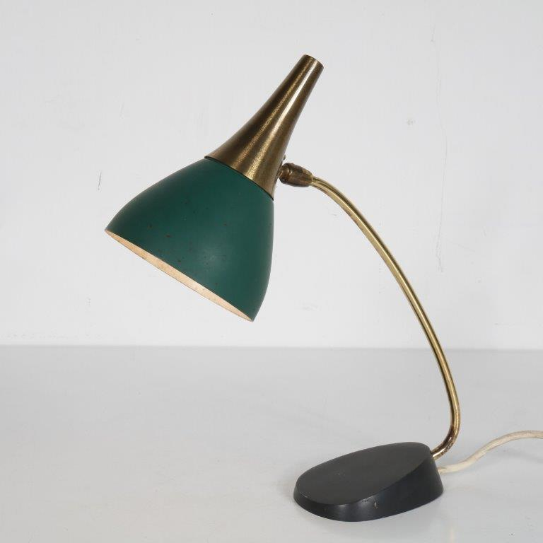 L4616 1950s Nice small table lamp in brass with green metal Kaiser Leuchten Germany