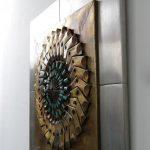 m24431 1960s Metal with copper brutalist art work Kunstwerk Signed Sammy USA