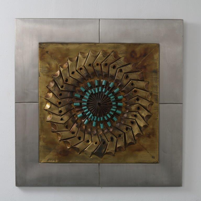 m24431 1960s Metal with copper brutalist art work Kunstwerk Signed Sammy USA