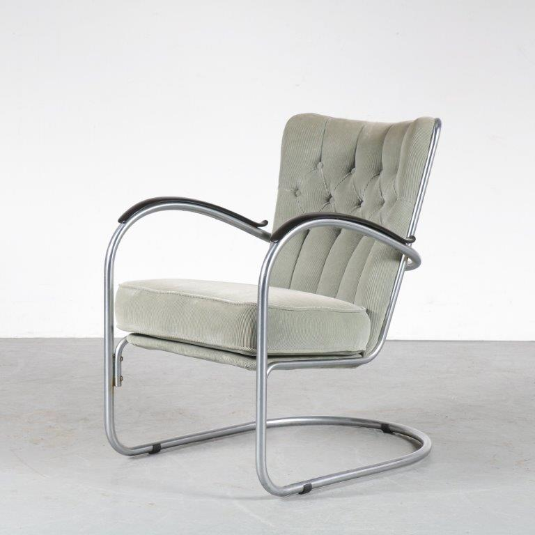 m24873 1950s Easy chair tubular pipe frame with ribcord upholstery model 412 W.H. Gispen Gispen Netherlands