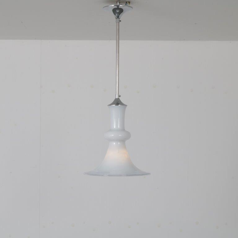 L4576 1970s Hanging lamp in white glass with clear edge Michael Bang Holmegaard Denmark