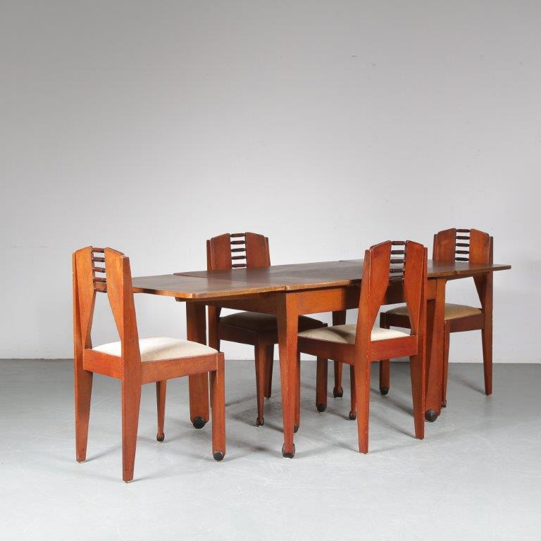 m24907 1920s Amsterdam school dining set 4 chairs + extendable table NL