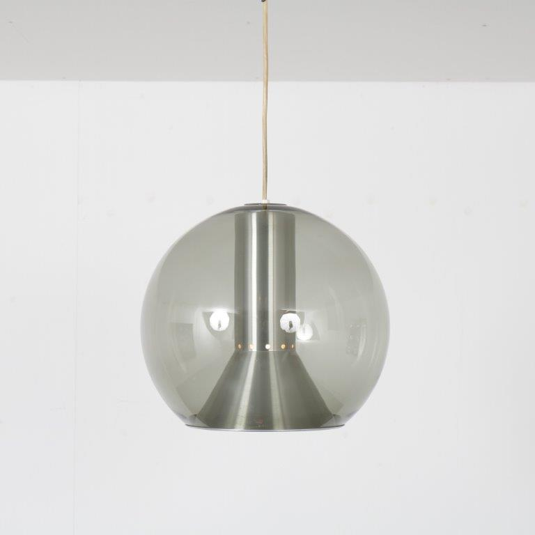 L4596 1960s Large glass with aliminium hanging lamp model Big Globe Frank Ligtelijn Raak Netherlands