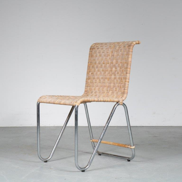 m24915 1930s site chair on chrome pipe frame with ratan upholstery Model Diagonal recent edition W.H. Gispen Dutch Originals NL